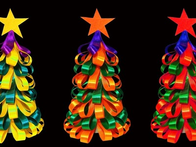 How To Make A Beautiful and Colorful Ribbon Christmas Tree (Christmas Crafts) : HD