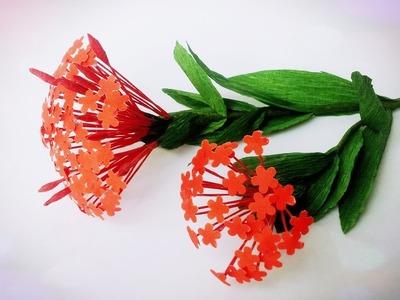 How To Make Ixora Coccinea Paper Flower - Craft Tutorial