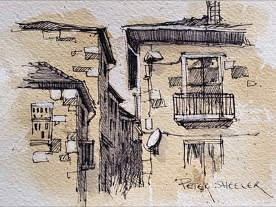 Pen and Ink Sketching on Painted Paper. Adding White Highlghts. Peter Sheeler