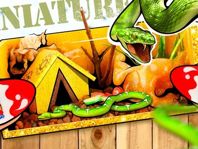 Real TERRARIUM (Aquarium) for Miniature Snakes! | DollHouse DIY ♥