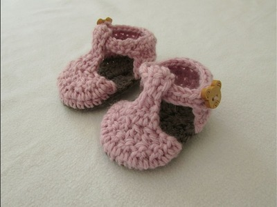VERY EASY crochet T-bar baby shoes. booties tutorial