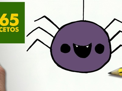 COMO DIBUJAR ARAÑA KAWAII PASO A PASO - Dibujos kawaii faciles - How to draw a SPIDER
