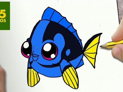COMO DIBUJAR DORY KAWAII PASO A PASO - Dibujos kawaii faciles - How to draw a DORY