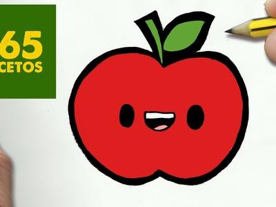 COMO DIBUJAR MANZANA KAWAII PASO A PASO - Dibujos kawaii faciles - How to draw a Apple