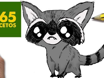 COMO DIBUJAR MAPACHE KAWAII PASO A PASO - Dibujos kawaii faciles - How to draw a raccoon