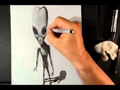 Drawing a 3D Alien, Trick Art ( គំនូរ 3d )