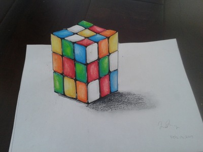 How to draw 3D Rubik's Cube (Art Illusion)