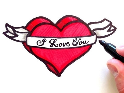 How to Draw a 3D Heart with Ribbon