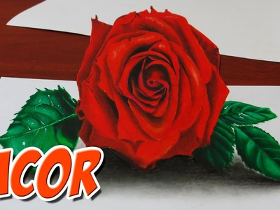 How to Draw a 3D Red Rose - Anamorphic Drawing