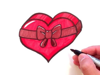 How to Draw a Heart with a Bow in 3D