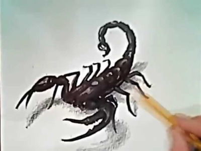 How to draw a scorpion (3D drawing)
