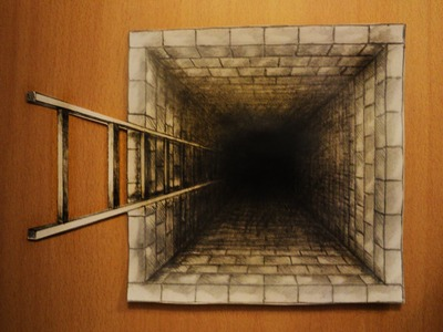 How to draw - one point perspective, 3d illusion, pit, hole with ladder