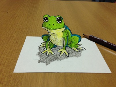 Tricks Art, How I Draw a 3D Frog -  Anamorphic Illusion