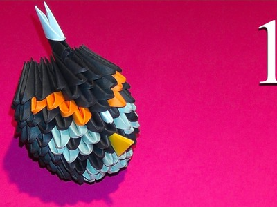 3D origami black Angry Bird