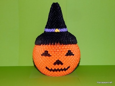 3d origami Halloween Witch Hat tutorial