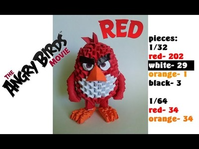 3D ORIGAMI RED ANGRY BIRDS MOVIE TUTORIAL BY ALEX