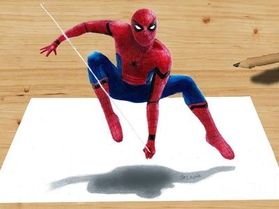 3D Pencil Drawing: Spider-Man NEW COSTUME in Captain America: Civil War - Speed Draw   Jasmina Susak