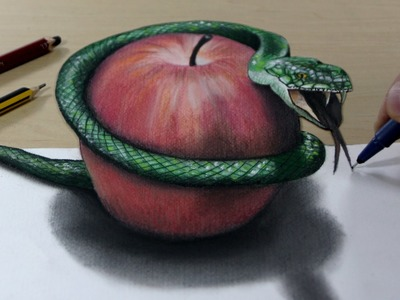 3D Trick Art on Paper   Snake and apple