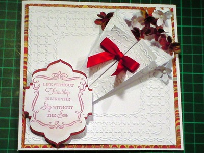62. Cardmaking Tutorial - 3D Embossed Floral Bouquet Red & White Card