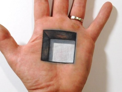 Cool 3D Trick Art - Square Hole in Hand