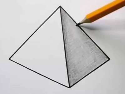 Drawing 3d with pencil -  How to draw pyramid 3d - Vincent Ericdonald