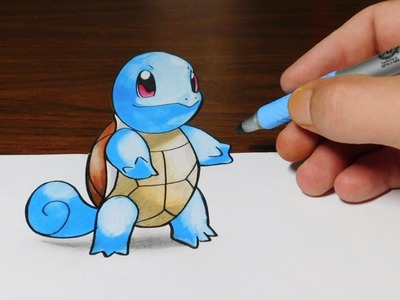 Drawing Squirtle - Pokemon Go 3D Trick Art