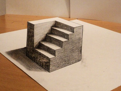 How to draw - 3d cube with stairs - Anamorphic Drawing - Optical illusion