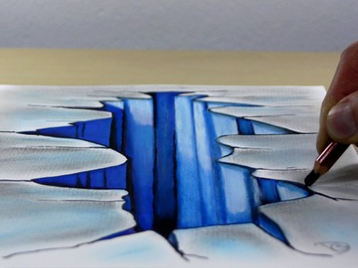 Trick Art on Paper, Painting 3D Hole  in the ice