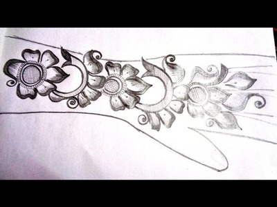How to pencil draw new mehndi design - on paper - K47