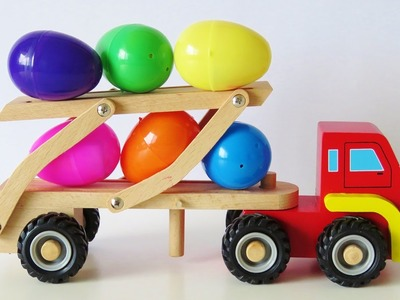 Color learning video for children wooden toy cars transporter truck surprise egg toys learn English