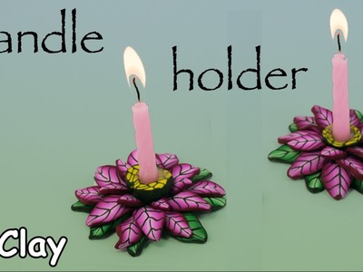 DIY Christmas Candle Holder - Polymer clay Poinsettia Decoration