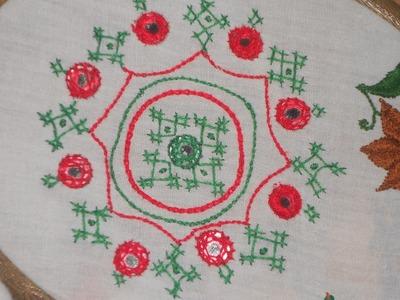 Hand Embroidery   SIMPLE AND ELEGANT DESIGN   USING LATTICE WORK & MIRROR WORK