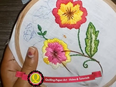 Quilling Made Easy : Hand Embroidery: Beautiful Satin Stitch Red & Yellow Flower