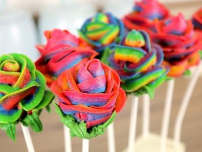 Rainbow Rose Cake Pops with Buttercream | CarlyToffle