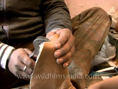 Traditional shoe making in India