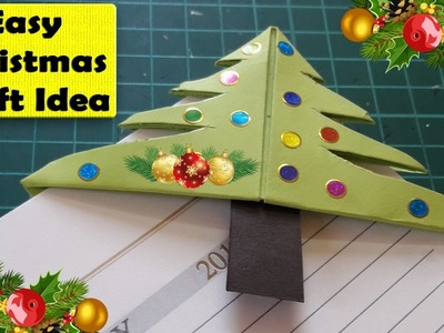 Christmas craft ideas for kids - Easy Christmas Tree Bookmark Corner - Easy Christmas paper crafts