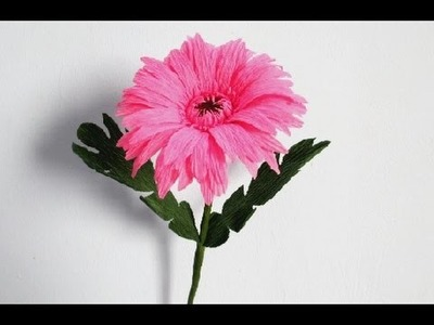 Flowers-How To Make Gerbera Flower From Creper-Paper Craft Tutorial-DIY Idea