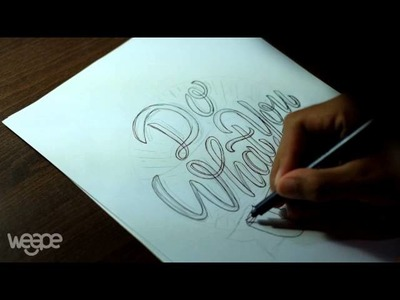 """Hand Lettering (Typography) Tutorial, Step by step how to make writing """"Do What You Love"""""""