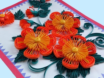 ☑️ Paper Quilling Art ❤ How to make Beautiful Quilling Orange. Yellow Flower design Greeting Card