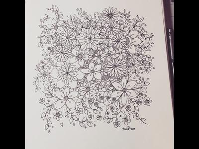 Zentangle Inspired Flowers - Art Journal Entry