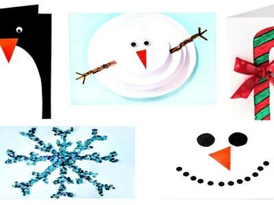 5 EASY DIY CHRISTMAS CARDS! Easy Christmas Card Tutorial Ideas! 2016!