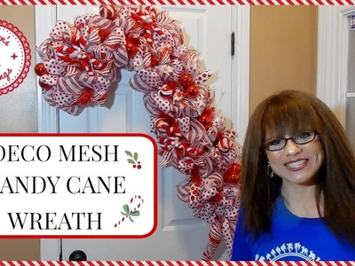 CHRISTMAS DECO MESH CANDY CANE WREATH | DIY
