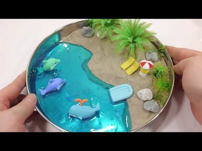 DIY Colors Slime Clay Kinetic Sand Summer Beach Toad House Glitter Snow