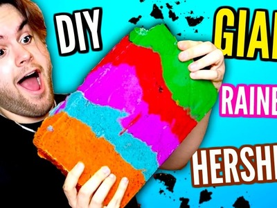 DIY Giant RAINBOW Hershey's CANDY BAR! Cookies n' Cream MEGA Huge Chocolate!