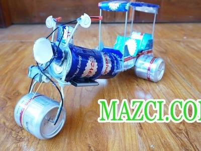 DIY How to Make Tuk Tuk With Bacchus Can - Electric Rickshaw (Tuk Tuk ) Out Of Bacchus Cans