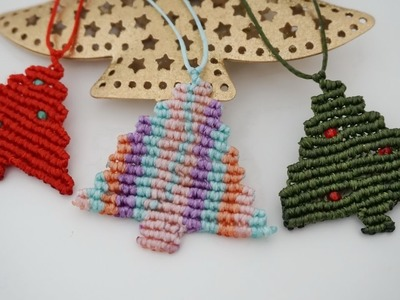 DIY Macrame Tutorial Easy Christmas tree macrame neclace.