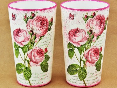 How to make a decoupage glass - Fast & Easy Tutorial - DIY