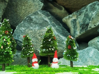 How To Make Miniature Pine Trees And Snowman - Craft Tutorial