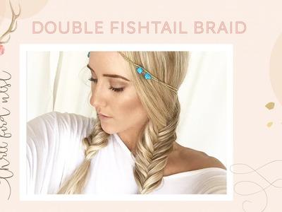Three Bird Nest Double Fishtail Braid Pocahontas Inspired Easy Hair Tutorial DIY