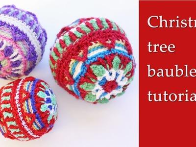 Crochet Christmas tree ball tutorial